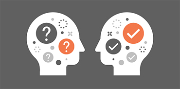 Illustration of two facing heads in negotiations