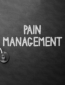 Pain management text with stethoscope
