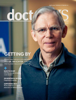 Cover image of April 2019 issue of doctorsNS magazine - Dr. Ian Slayter