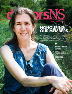 Dr. Janneke Gradstein on cover of May 2020 issue of doctorsNS magazine