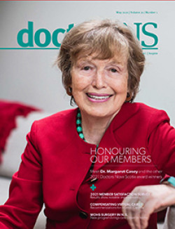 Dr. Margaret Casey on the cover of the May 2021 issue of the doctorsNS magazine
