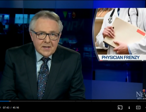 Host Steve Murphy and a graphic of a physician holding a file folder.